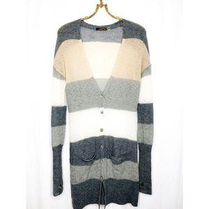 Dex wide striped long cardigan